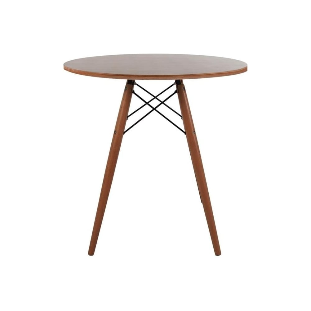 Eiffel Inspired Small Walnut Circular Dining Table Walnut Wood Legs