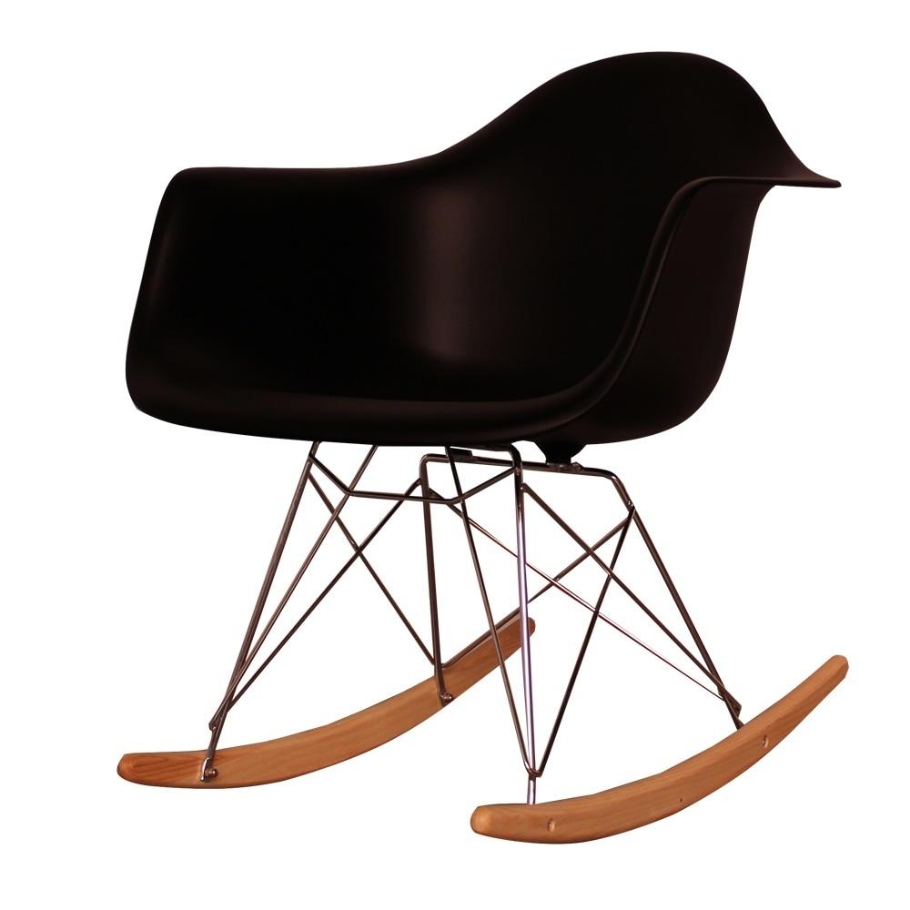 Style Black Plastic Retro Rocking Chair