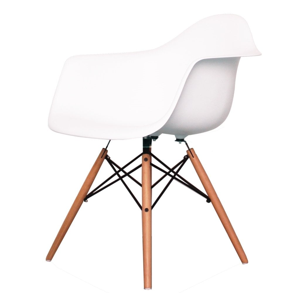 Stupendous Charles Eames Style Cool White Plastic Retro Armchair Pabps2019 Chair Design Images Pabps2019Com