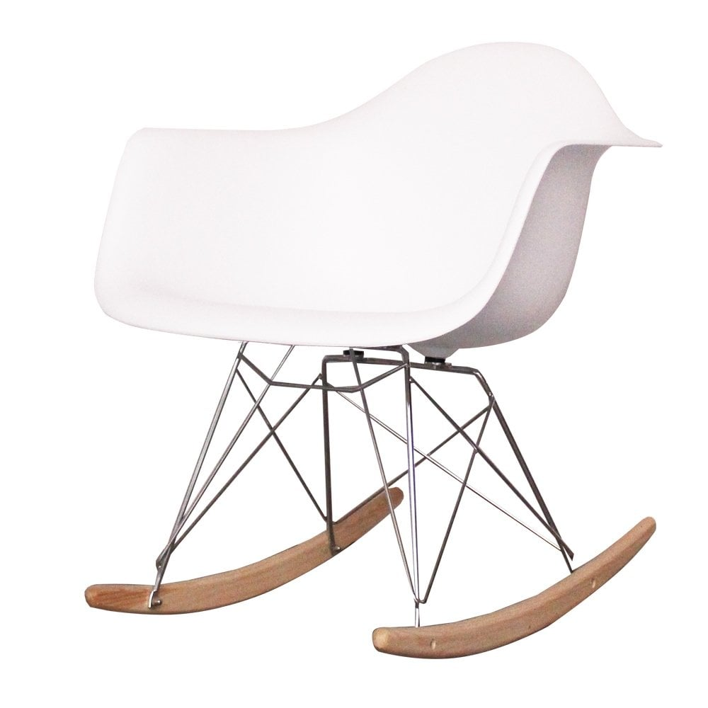 Ordinaire Style Cool White Plastic Retro Rocking Chair