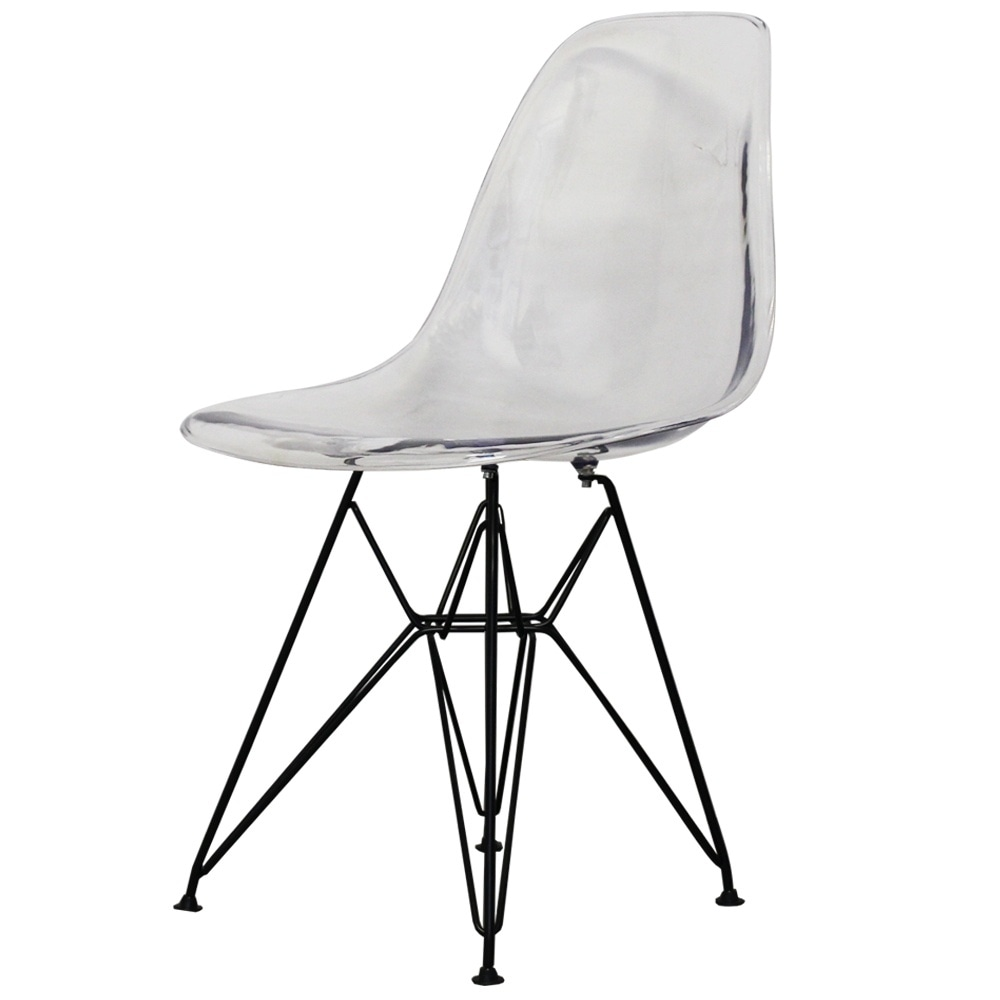 Attrayant Style Eiffel Clear Plastic Retro Side Chair   Black Legs
