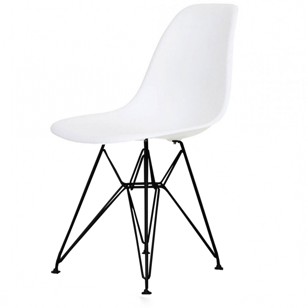 Buy Eames Style Eiffel Cool White Plastic Side Chair At