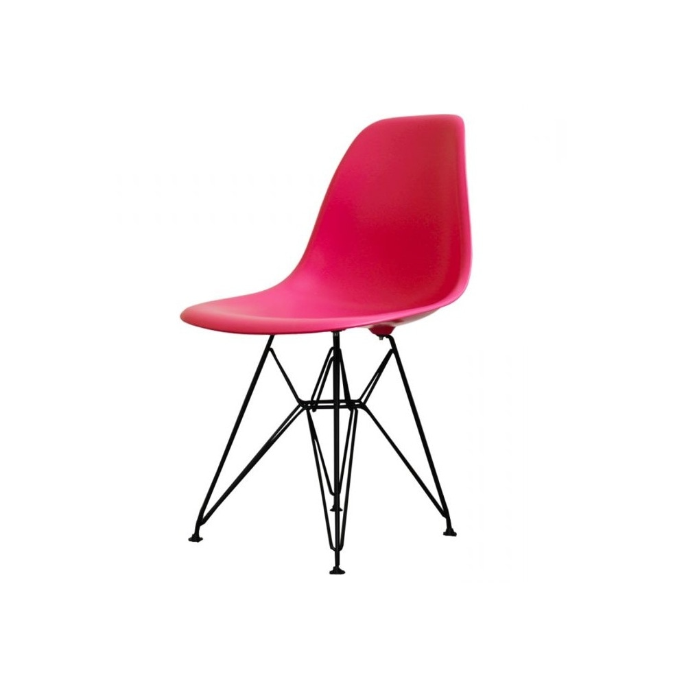 buy eames style eiffel pink plastic retro side chair at fusion living. Black Bedroom Furniture Sets. Home Design Ideas