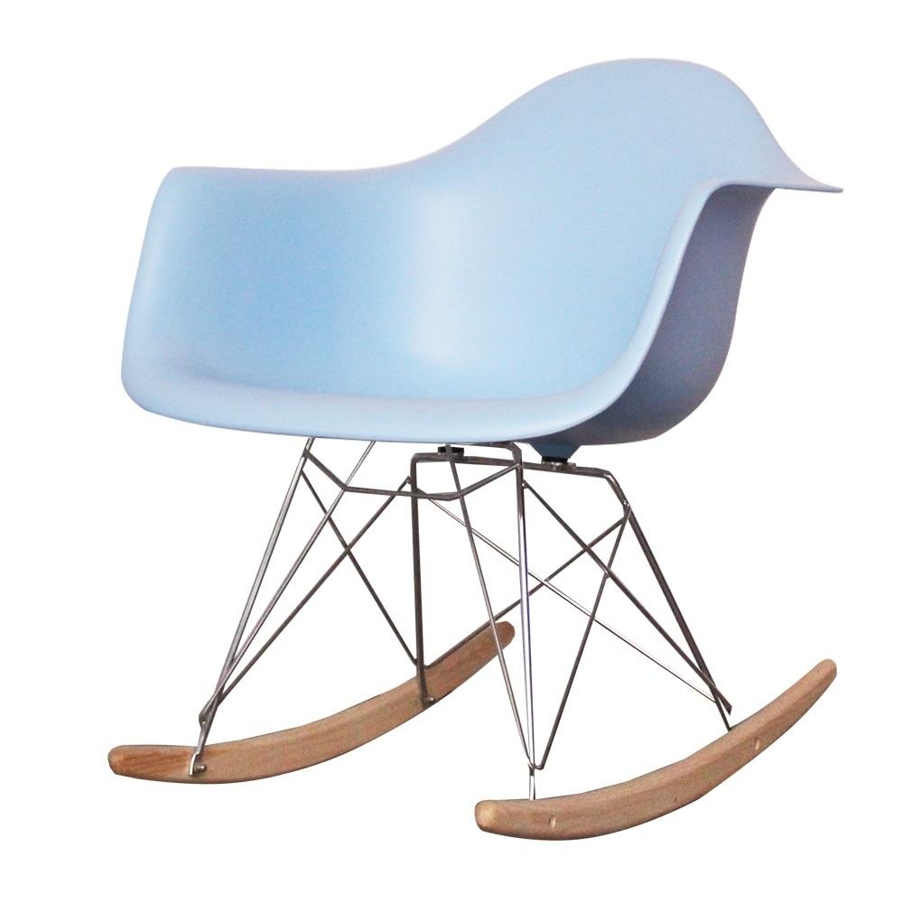Style Light Blue Plastic Retro Rocking Chair