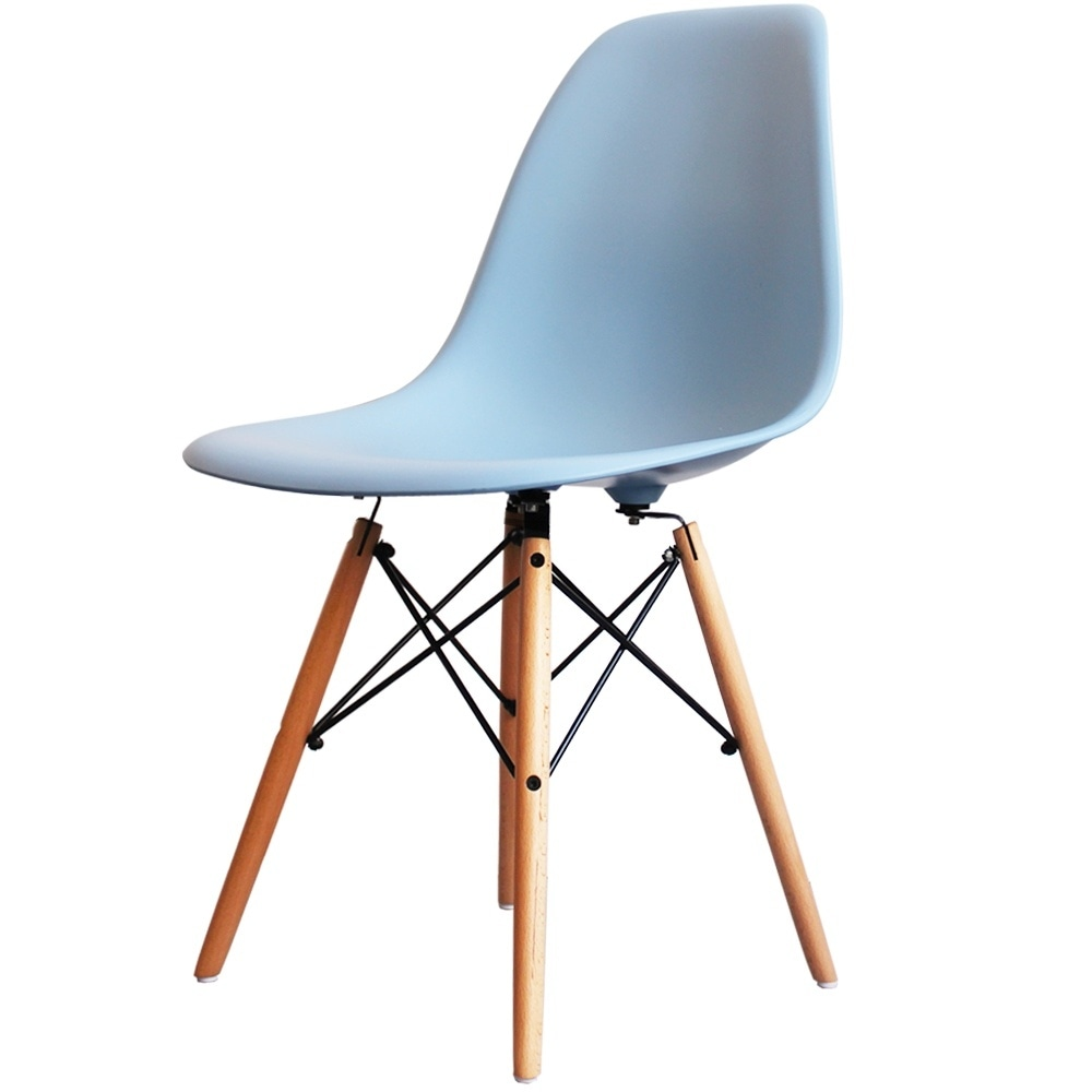buy eames style light blue plastic retro side chair from fusion living. Black Bedroom Furniture Sets. Home Design Ideas