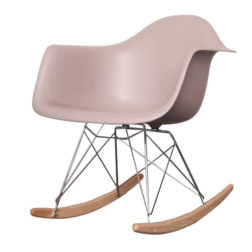 Style Light Grey Plastic Retro Rocking Chair
