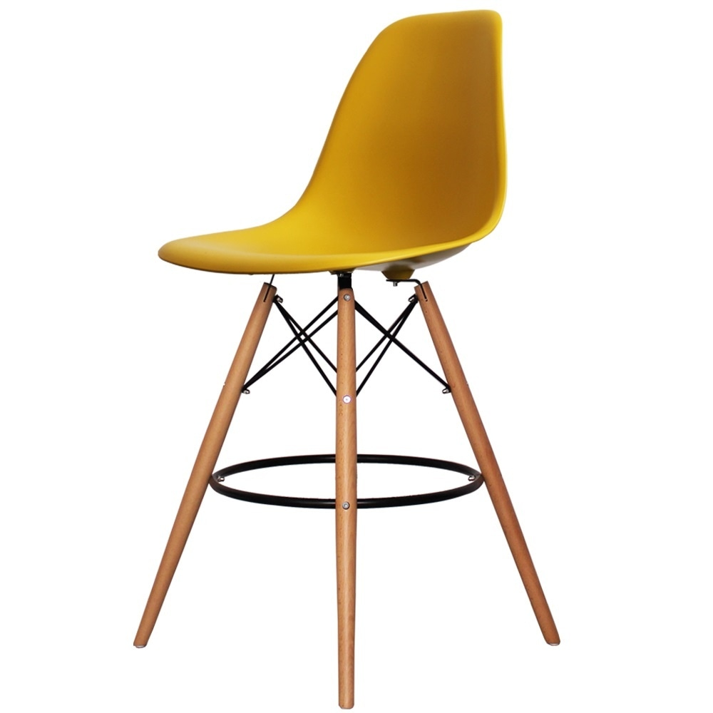 Beautiful Buy Mustard Plastic Bar Stool with Beech Legs from Fusion Living SR64