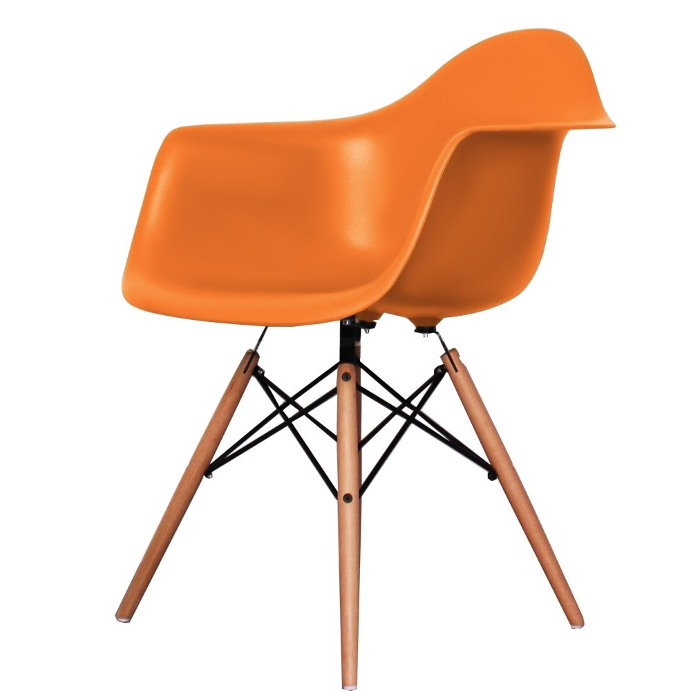 buy eames style orange plastic retro armchair from fusion living. Black Bedroom Furniture Sets. Home Design Ideas