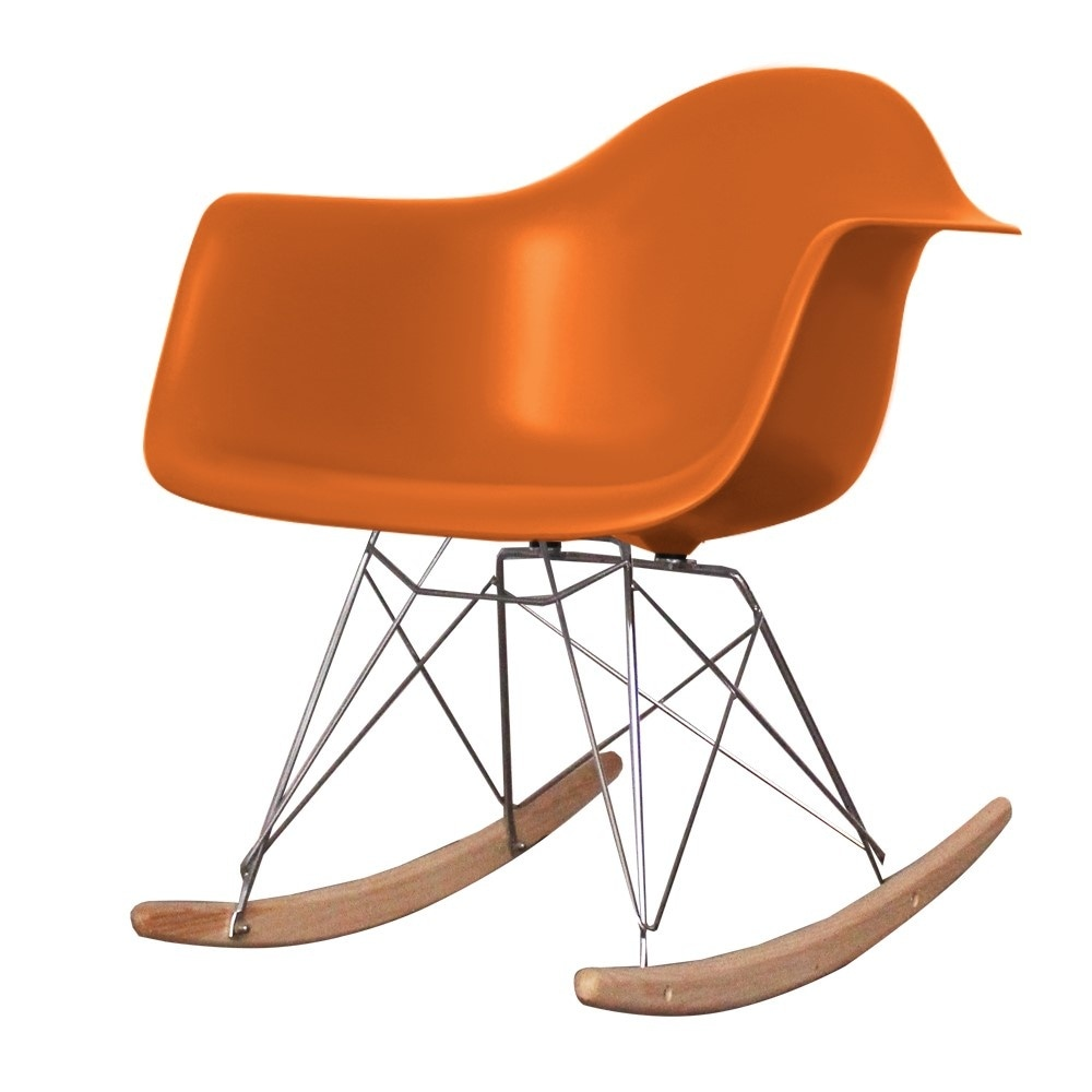 buy eames style orange plastic retro rocking chair from. Black Bedroom Furniture Sets. Home Design Ideas