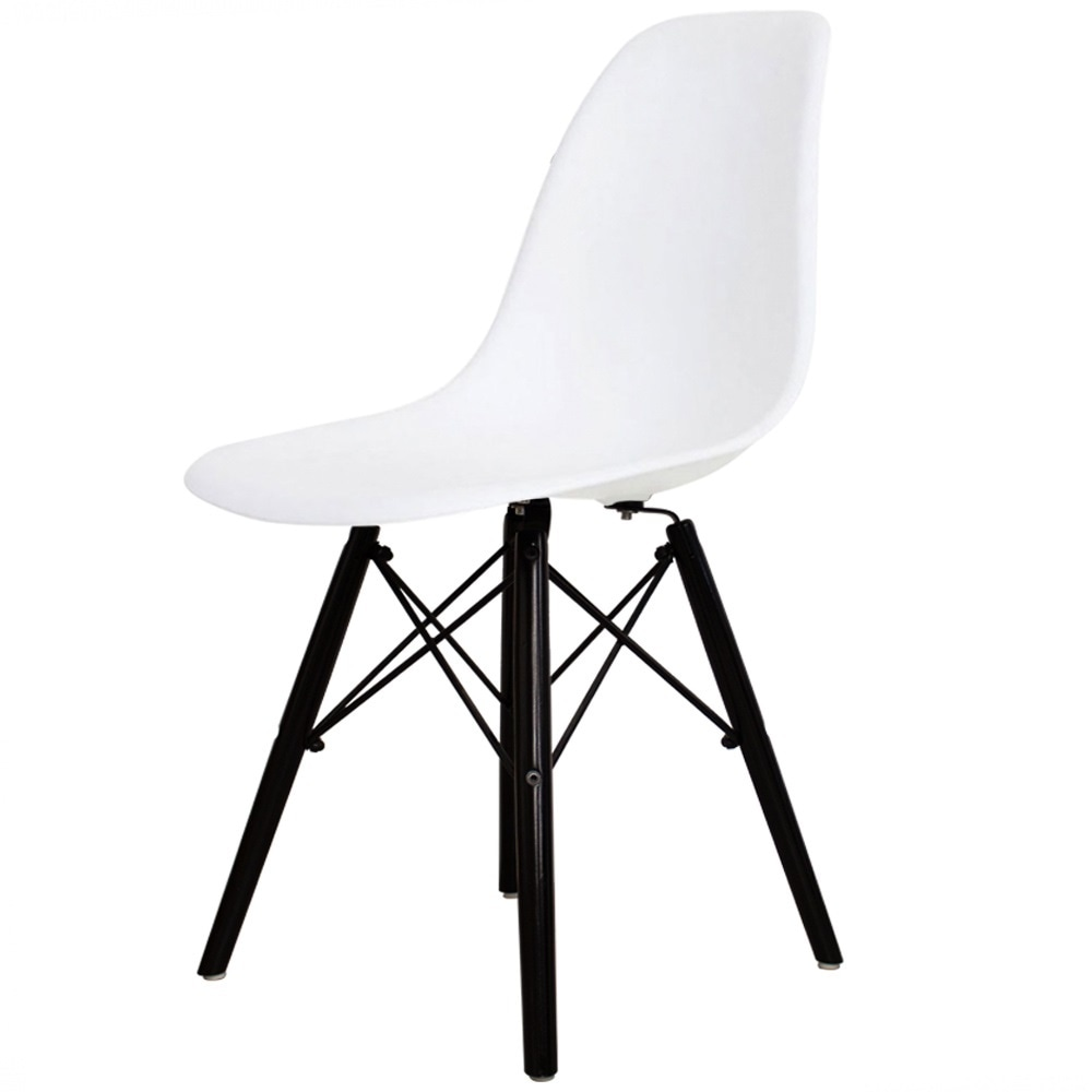 Style White Plastic Retro Side Chair Black Wooden Legs