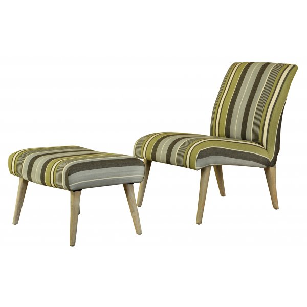 Scandinavian Retro Style Striped Lounge Chair And Footstool