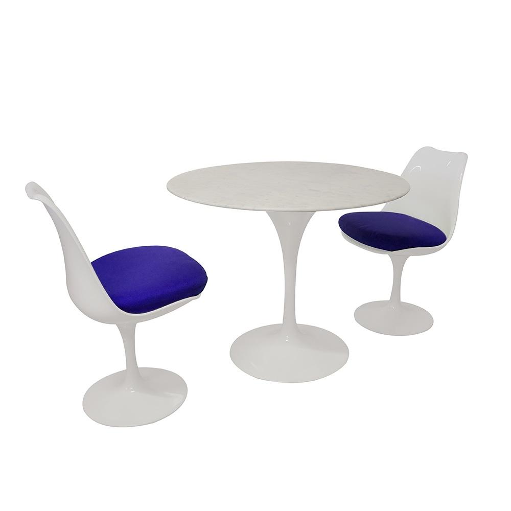 Eero Saarinen Tulip Style Set Marble Medium Table With