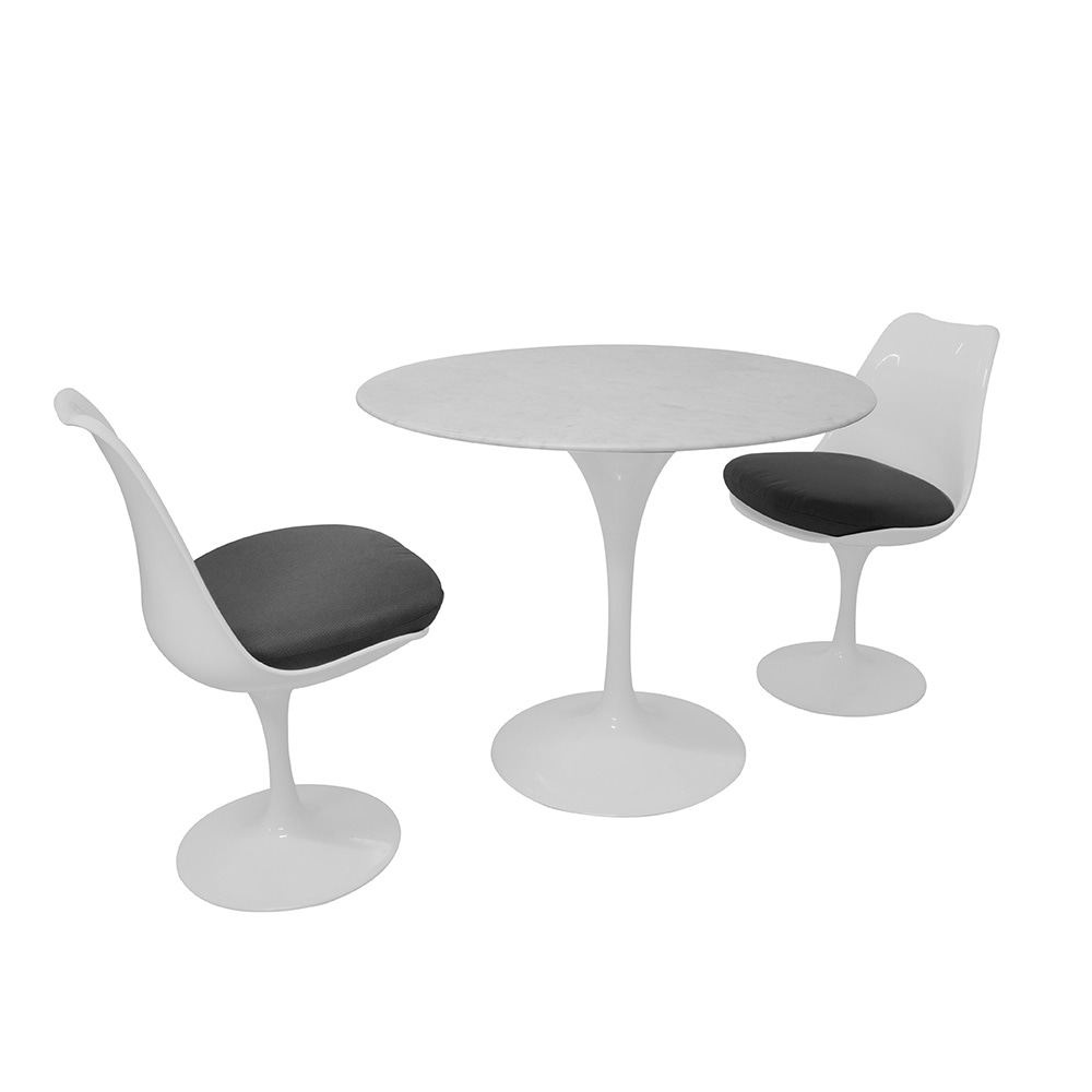 Tulip Style Set Marble Medium Table With Two White