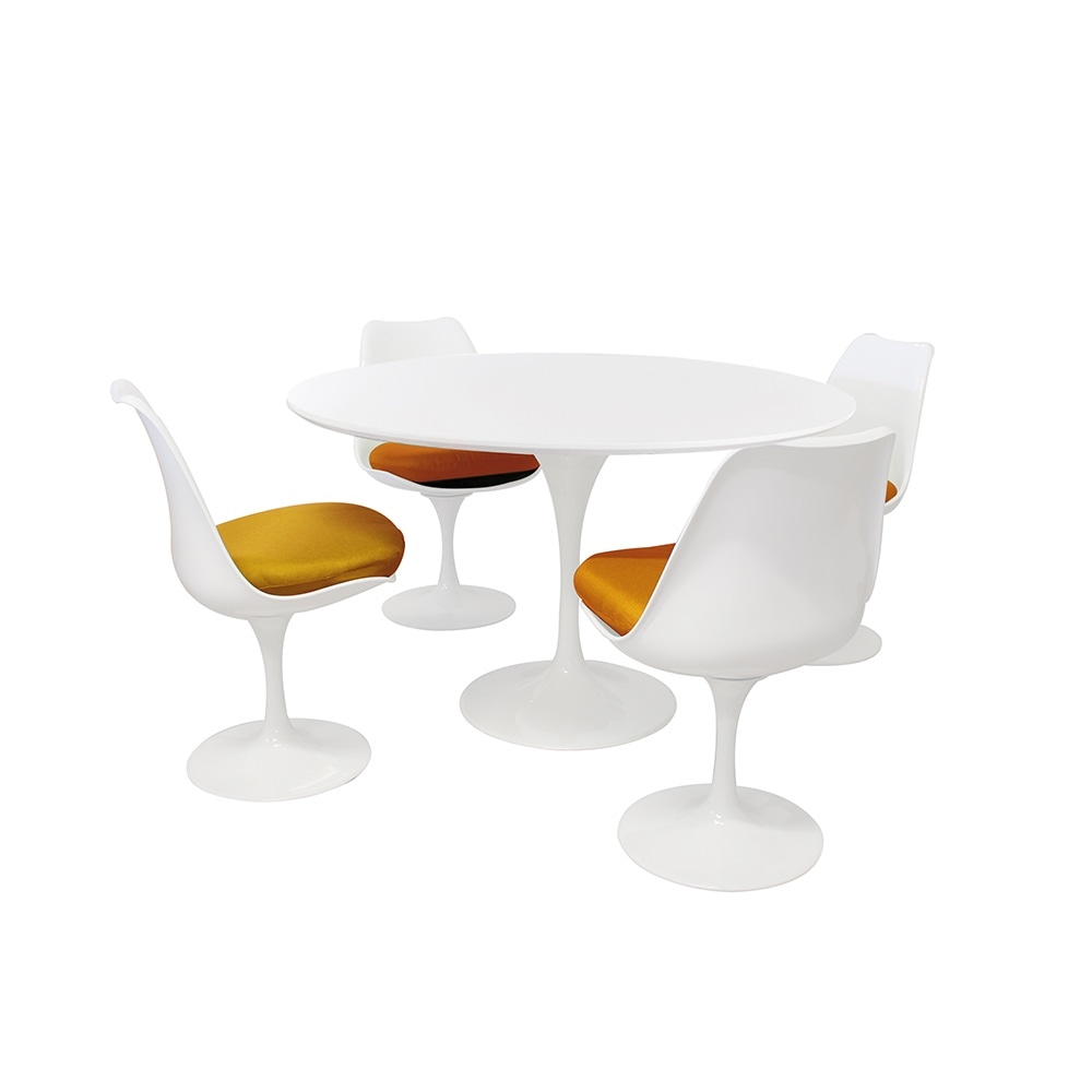 Tulip Style Set   White Medium Circular Table With Four White And Orange  Side Chairs