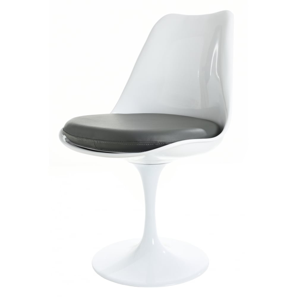 White And Grey Pu Tulip Style Side Chair Available At