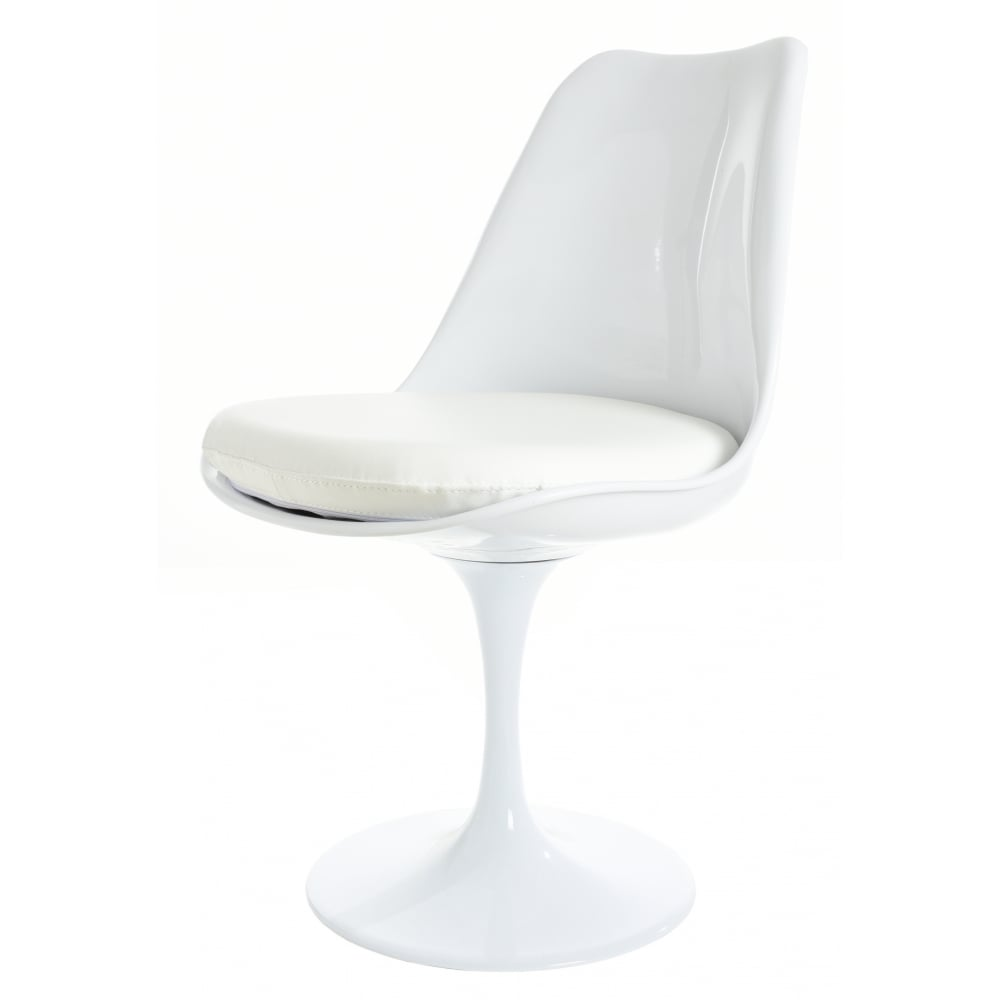 White And White Pu Tulip Style Side Chair Available At