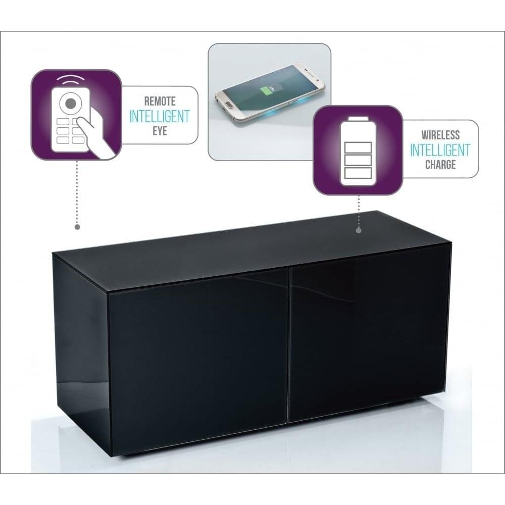 Gentil High Gloss Black Glass 1100 Intelligent Media Cabinet
