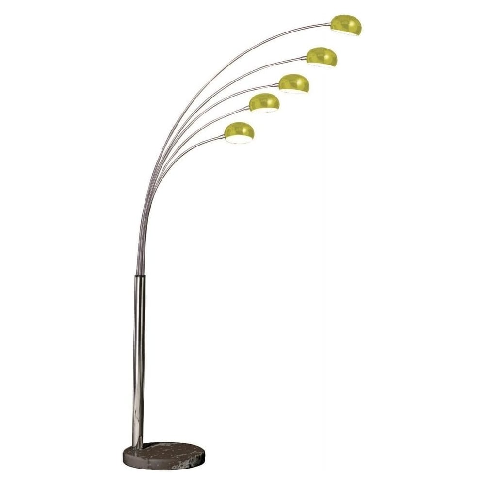 5 Light Metal And Lime Green Arched Floor Standing Lamp