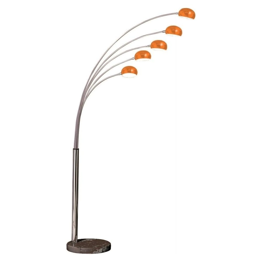 Buy 5 light metal and orange arched floor lamp from fusion living 5 light metal and orange arched floor standing lamp aloadofball