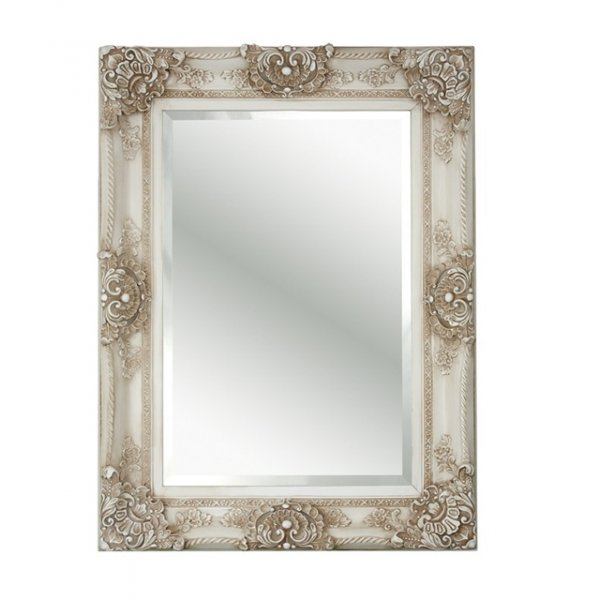 Buy fusion living antique style ivory rectangular mirror for Vintage style mirrors