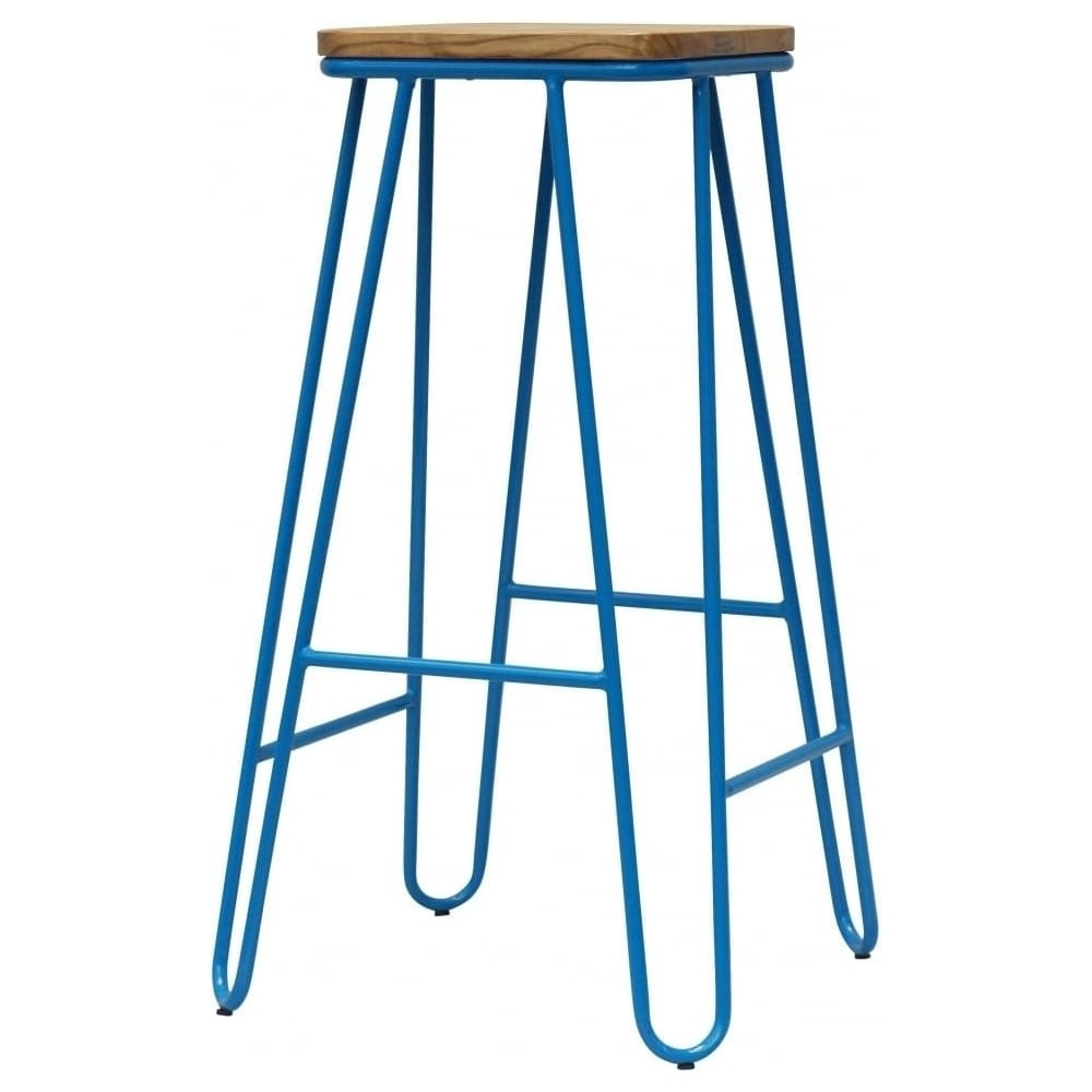 Buy Blue Hairpin Metal Bar Stool With Square Seat From