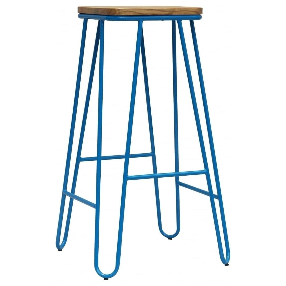 Buy Blue Hairpin Metal Bar Stool With Square Seat From Fusion Living