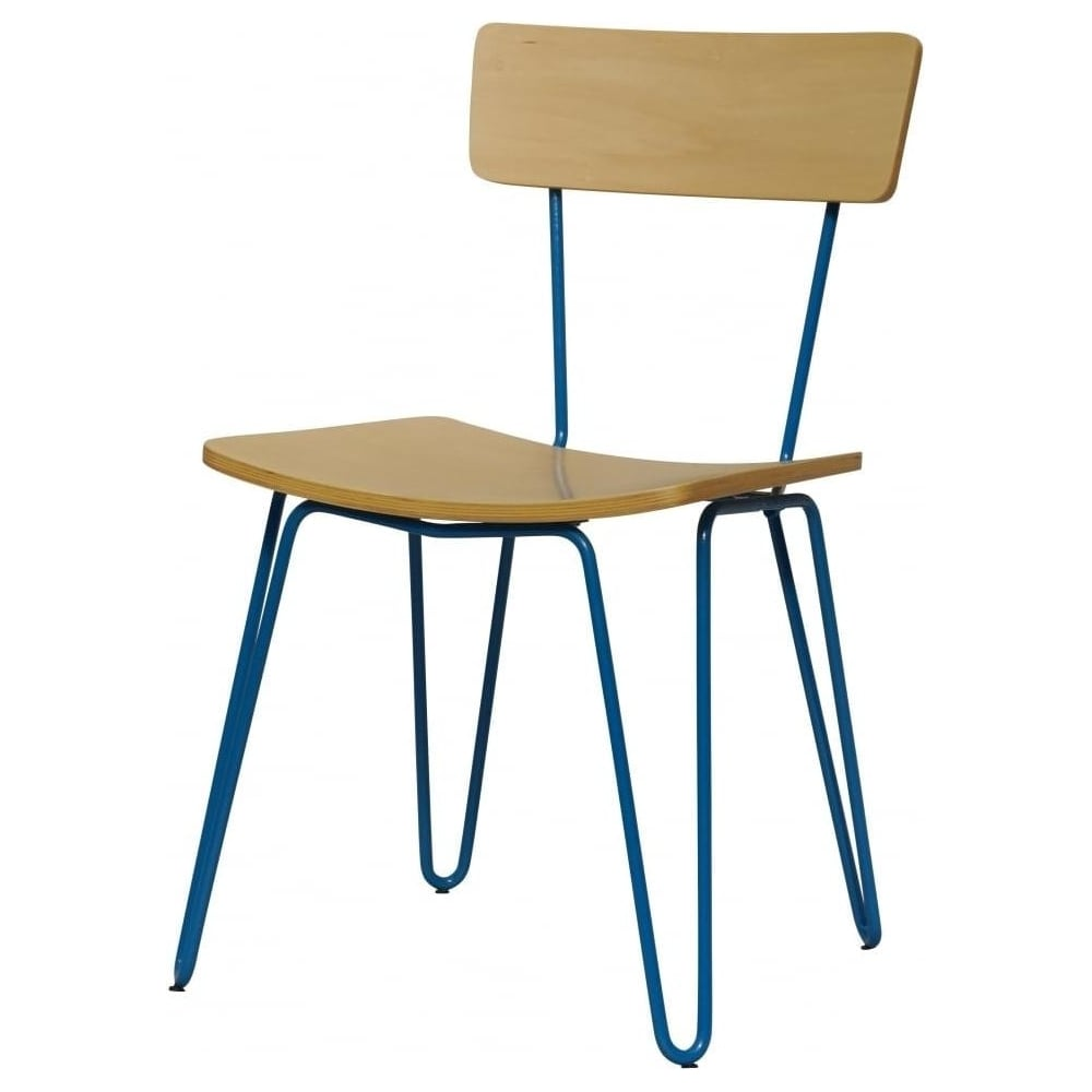 Buy Blue Hairpin Metal Chair With Light Wood Seat From