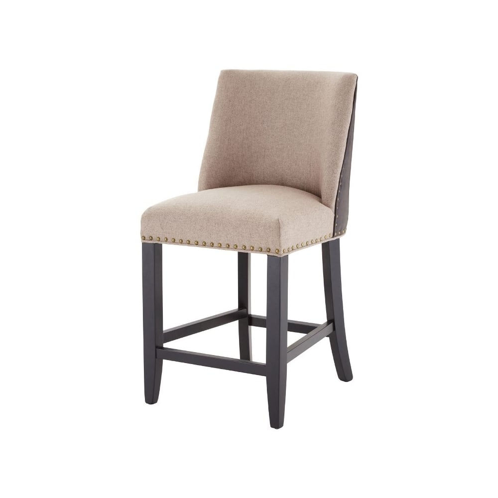 Brilliant Beige Fabric And Brown Faux Leather Rodeo Bar Stool Dailytribune Chair Design For Home Dailytribuneorg