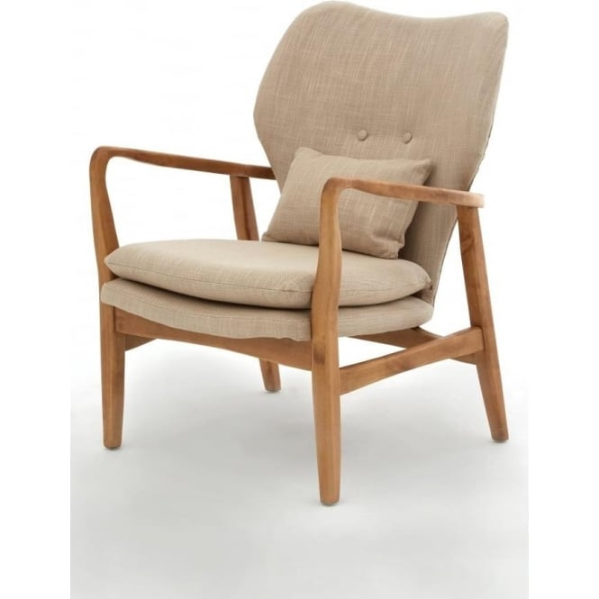 Buy Beige Upholstered Mid Century Armchair from Fusion ...