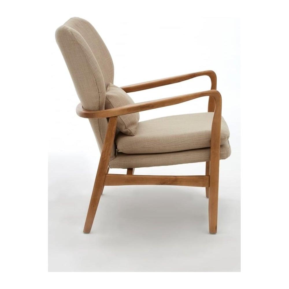Delightful Beige Upholstered Mid Century Scandinavian Armchair