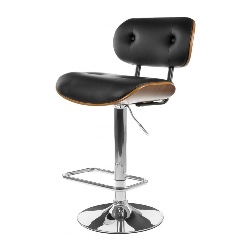 Black faux leather and walnut button back retro bar stool