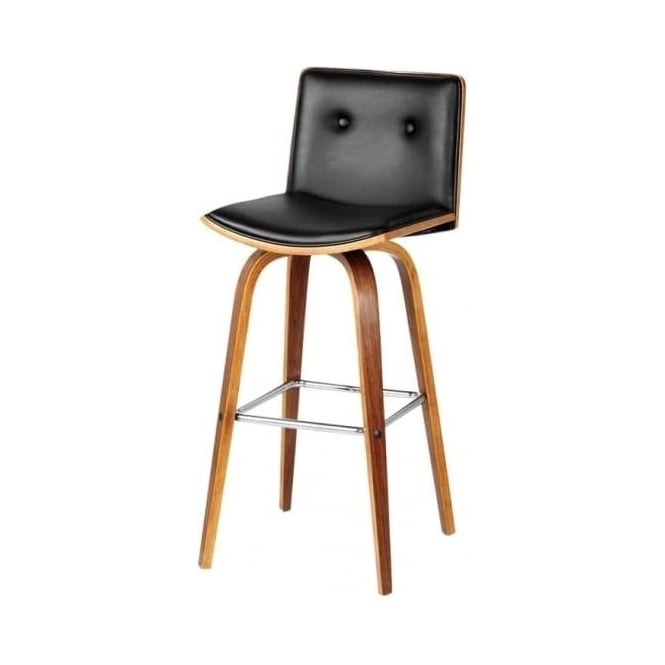 pretty nice 04dfe ff1be Black Faux Leather and Walnut Wood Button Back Contemporary Bar Stool