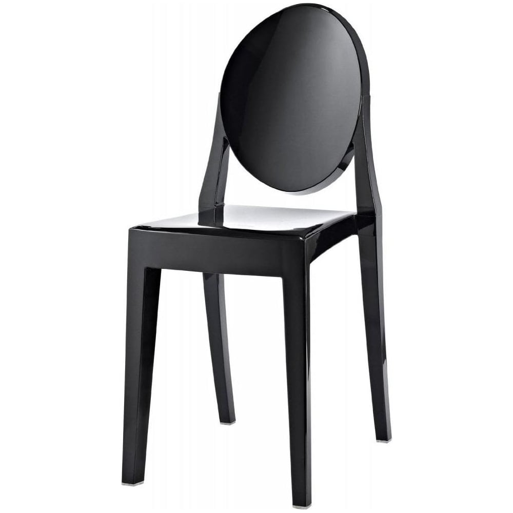 Black ghost style plastic victoria dining chair black for Black plastic dining chairs