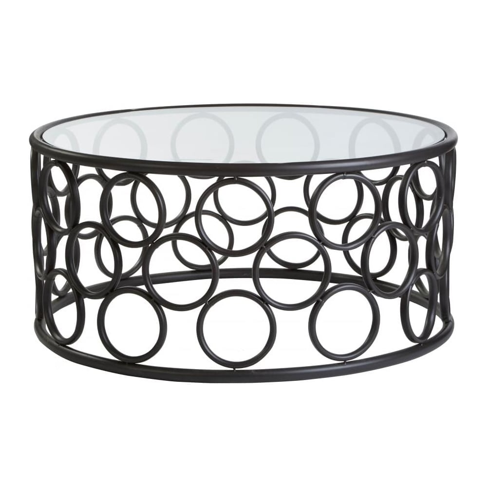 Buy Black Metal Circles Coffee Table With Glass Top From