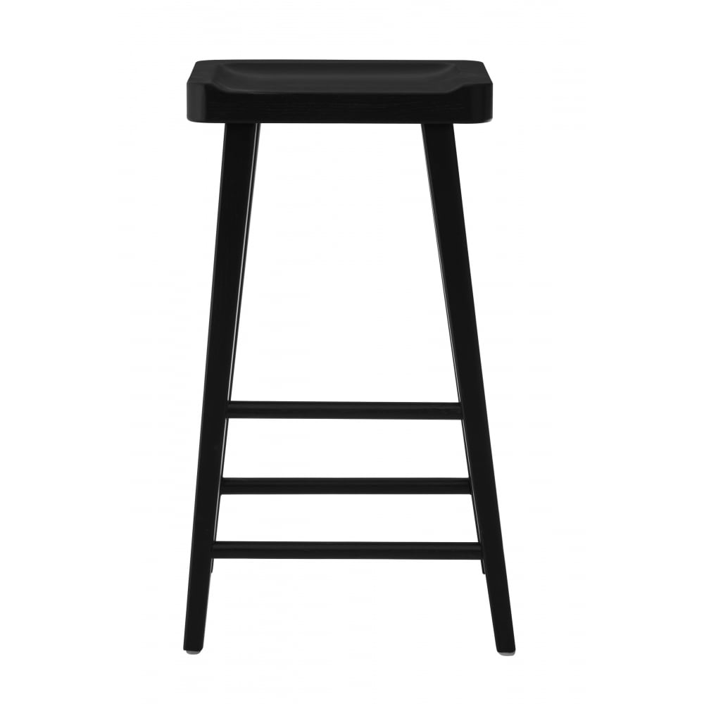 black oak wood bar stool with scooped oak seat from fusion living. Black Bedroom Furniture Sets. Home Design Ideas