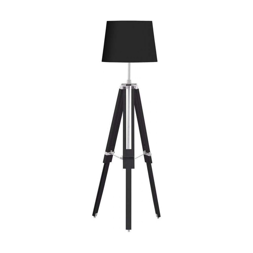 Buy Black Wood and Chrome Tripod Floor Lamp from Fusion Living