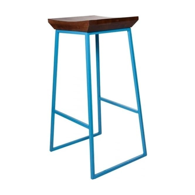 Buy blue metal industrial style bar stool from fusion living - Teal blue bar stools ...
