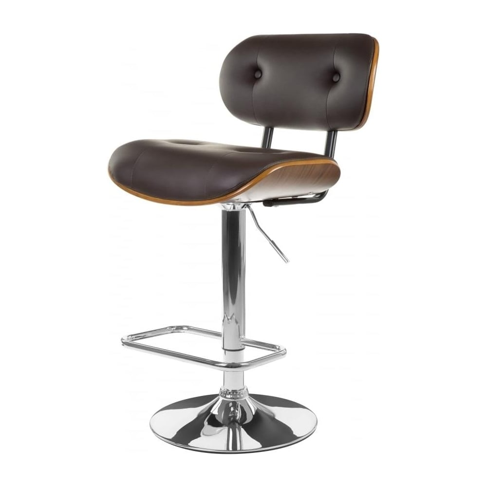 Buy Brown Faux Leather Walnut Button Back Bar Stool At Fusion Living