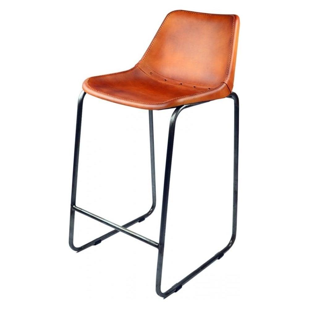 Burnt orange faux leather industrial bar stool