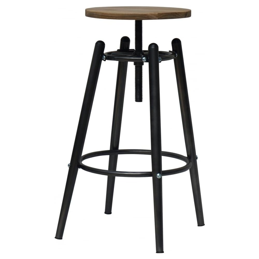 Bon Charcoal Grey Industrial Screw Top Bar Stool With Solid Wood Seat