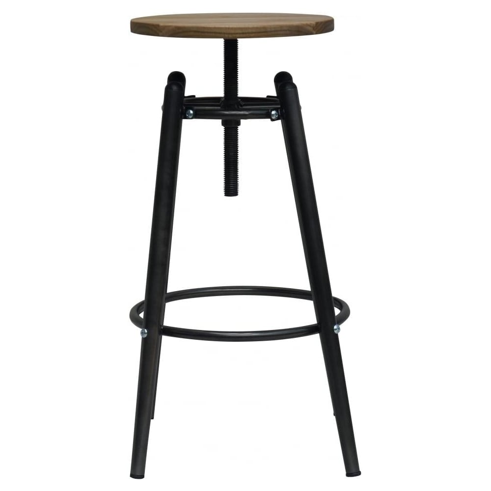 Superbe Charcoal Grey Industrial Screw Top Bar Stool With Solid Wood Seat