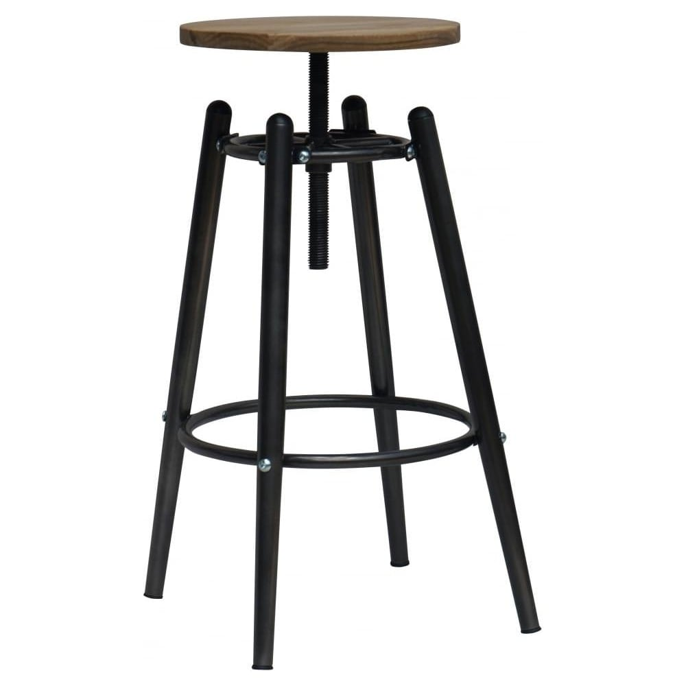 Charcoal Grey Industrial Screw Top Bar Stool With Solid Wood Seat