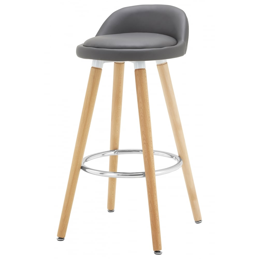 Contemporary Grey Faux Leather Bar Stool Beech Legs At