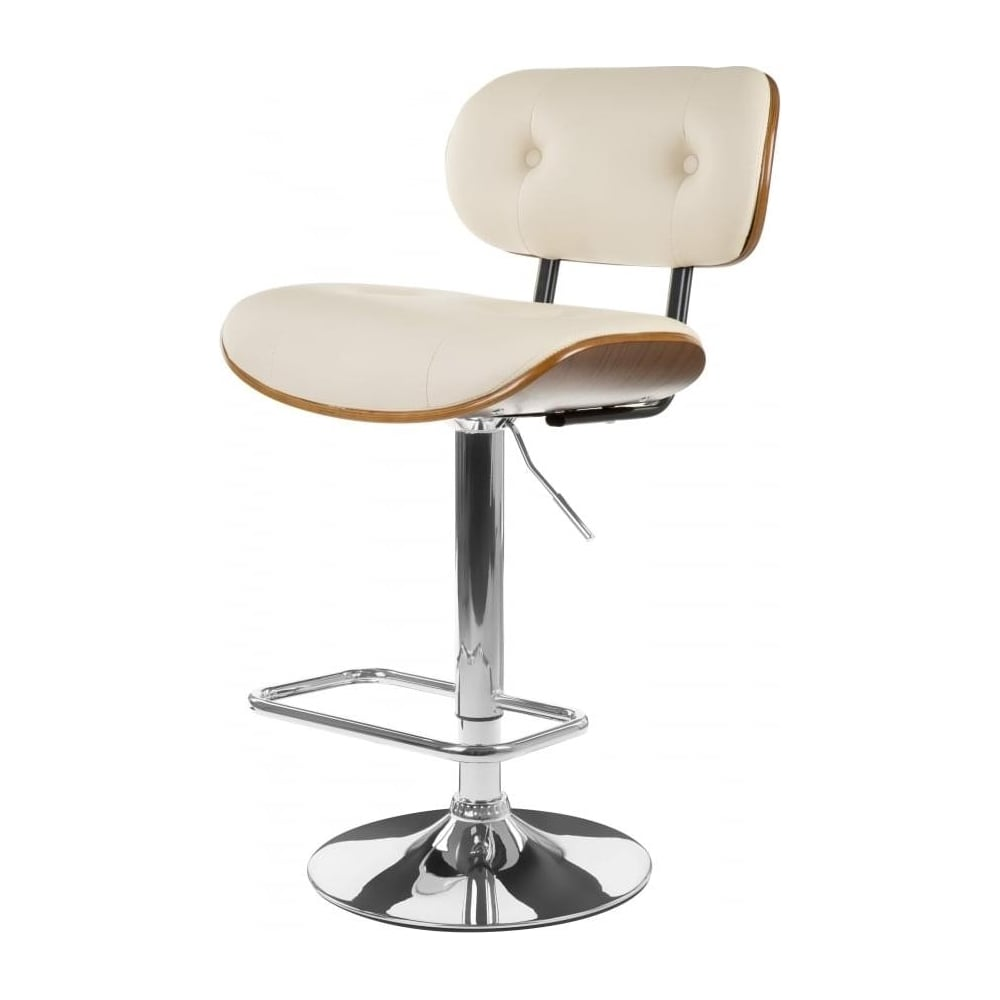 Buy Cream Faux Leather Walnut Button Back Bar Stool At Fusion Living