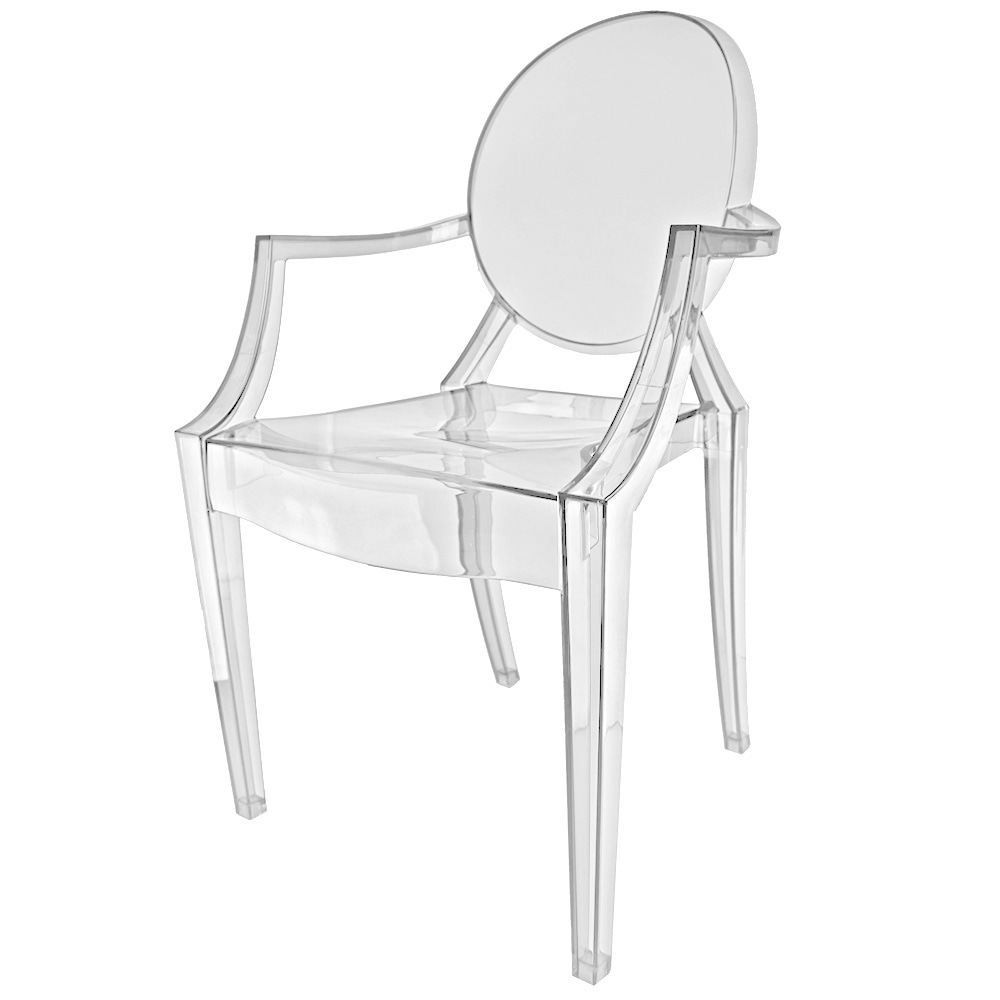 Crystal Clear Ghost Style Plastic Louis Armchair