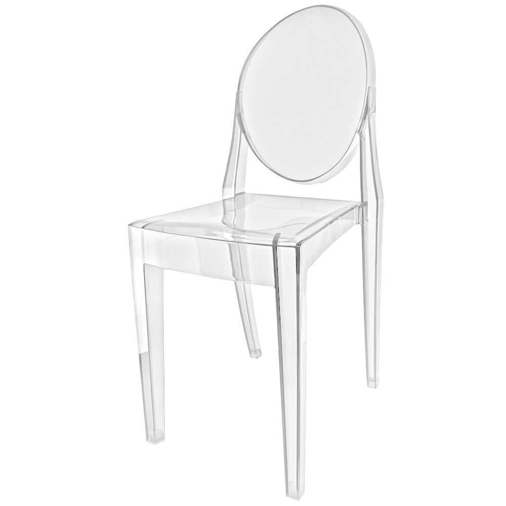 crystal clear ghost style plastic victoria dining chair. Black Bedroom Furniture Sets. Home Design Ideas