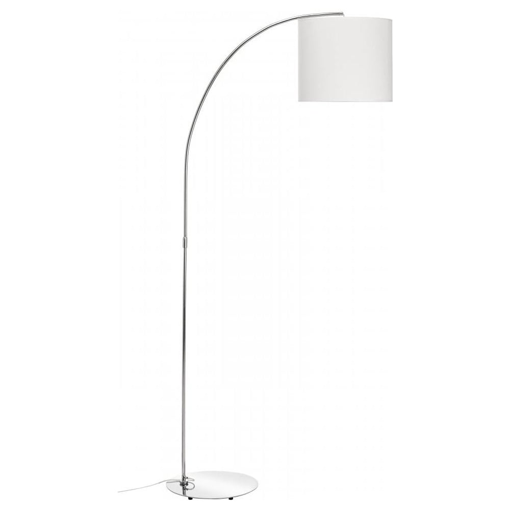 Buy curved chrome floor lamp with white shade buy curved for Giant curved floor lamp with metal shade