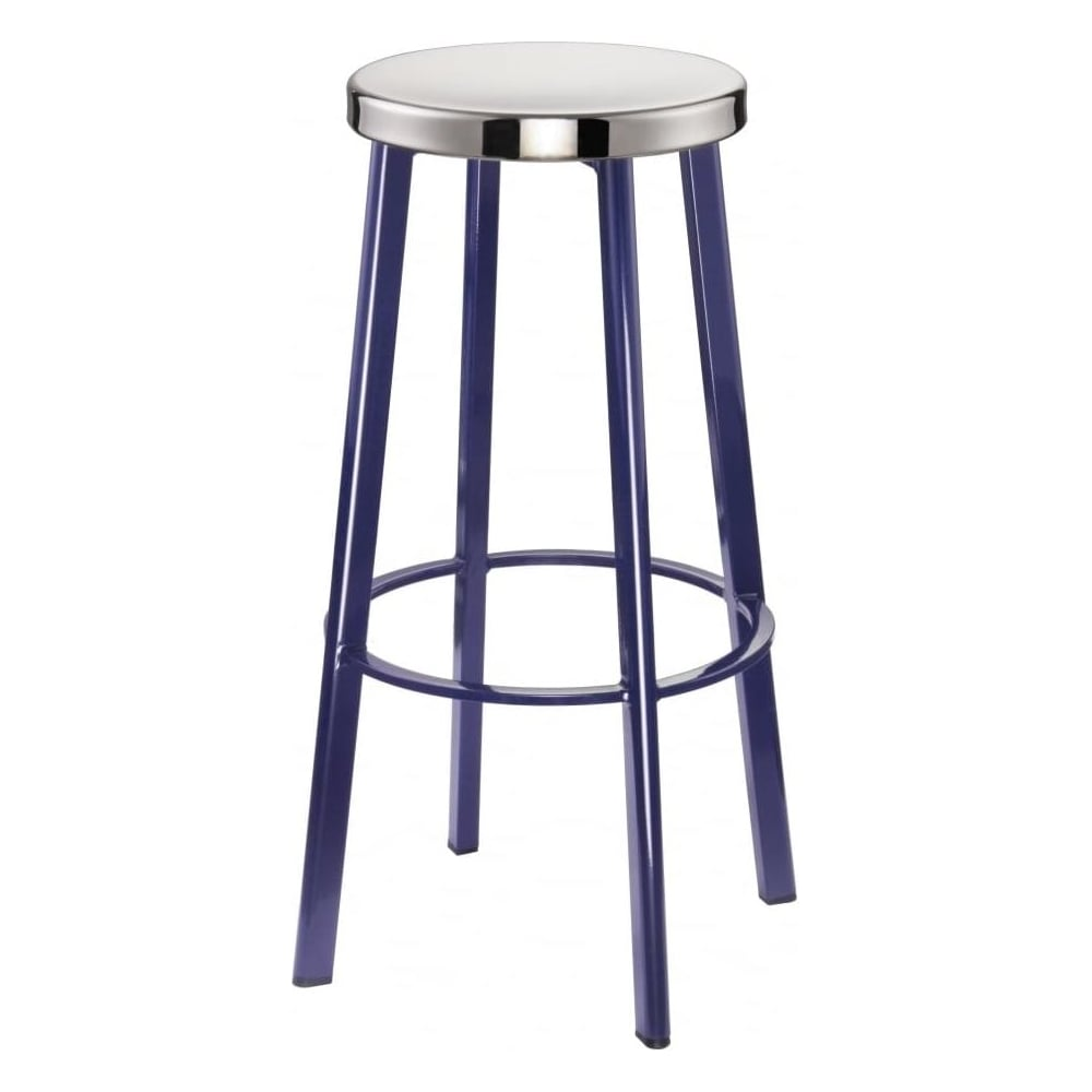 Buy Dark Blue Contemporary Metal Bar Stool With Circular