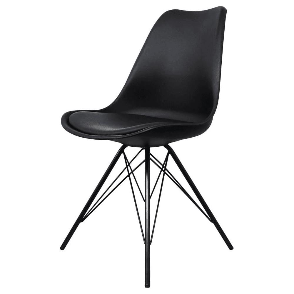 Eiffel Inspired Black Plastic Dining Chair With Black Metal Legs