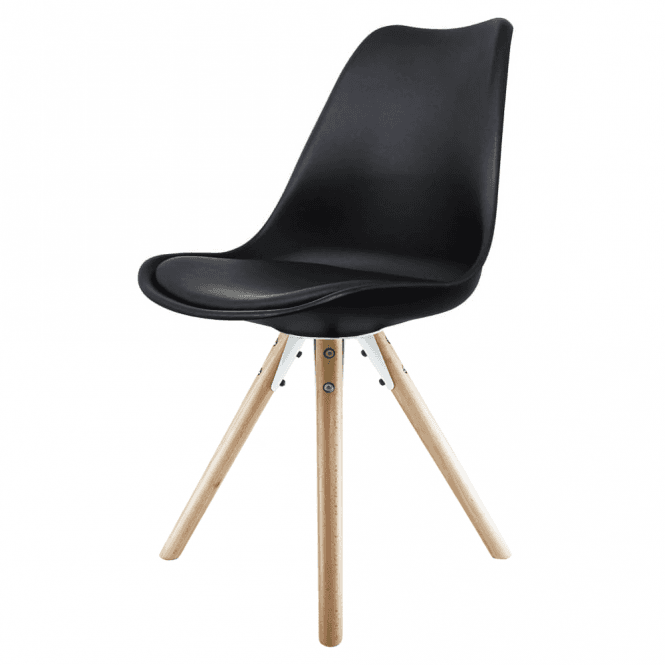 Eiffel inspired black dining chair with natural wood legs for Black plastic dining chairs
